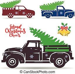 シルエット, デザイン, オブジェクト, 飾り付けなさい, 背景, 休日, トラック, クリスマス, 白, 届きなさい...
