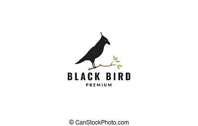 シルエット, デザイン, 鳥, ワタリガラス, 木, 黒, ロゴ