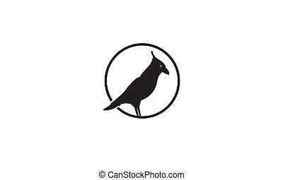 シルエット, デザイン, 鳥, ワタリガラス, 黒い円, ロゴ