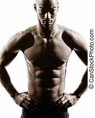 シルエット, トップレスで, 筋肉, 若い, 建造しなさい, アフリカの男