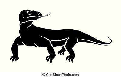 シルエット, ドラゴン, 黒い背景, komodo, 白, varanus