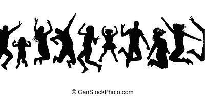 シルエット, パターン, 人々。, seamless, イラスト, ベクトル, 跳躍