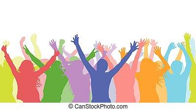 シルエット, パターン, seamless, colorful., people), ファン, ベクトル, イラスト, (cheerful