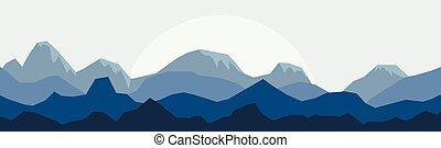 シルエット, パノラマ, 山