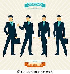 シルエット, ビジネスマン, レトロ, style.