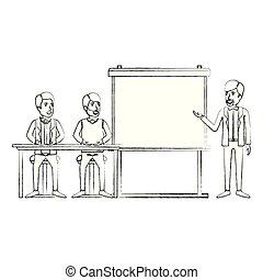 シルエット, ビジネス, モデル, 恋人, 経営者, 人々, ぼんやりさせられた, 机, 演説者, presentacion, 人