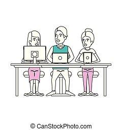 シルエット, ビジネス, モデル, 色, 人々, 装置, 合わせられる, コンピュータ技術, 机, グループ, 女性, セクション, 人