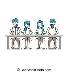シルエット, ビジネス 人々, 色, モデル, 話し, チームワーク, 机, セクション