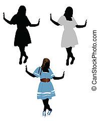シルエット, ファッション, 女の子