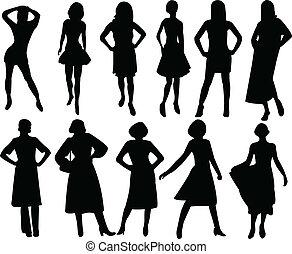シルエット, ファッション, 女性