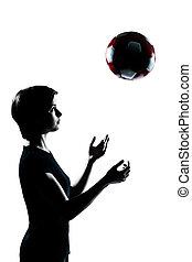 シルエット, フットボール, 寝返りを打つ, 若い, 1(人・つ), ティーネージャー, 女の子, サッカー