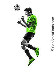 シルエット, フットボール, 若い, プレーヤー, サッカー, ヘッディング, 人