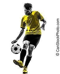 シルエット, フットボール, 若い, プレーヤー, ブラジル人, サッカー, 人