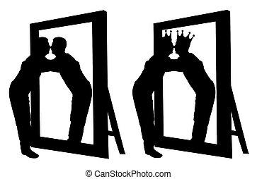 シルエット, ベクトル, の, a, narcissistic, 人, 抱き合う, 彼の, 反射, 中に, ∥, 鏡