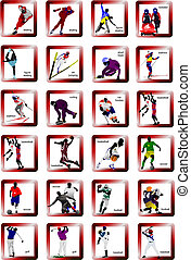 シルエット, ベクトル, スポーツ, icons., イラスト