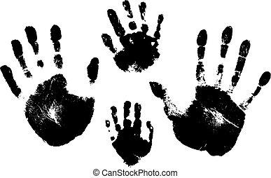 シルエット, ベクトル, 女, child., 白, 人, 背景, handprints