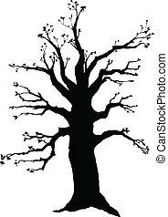 シルエット, ベクトル, 木の 冬