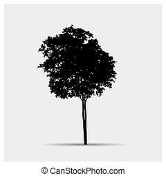 シルエット, ベクトル, 木