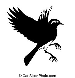 シルエット, ベクトル, 背景, 小さい, 白い鳥