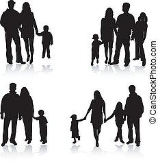 シルエット, ベクトル, 親, 子供