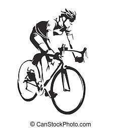 シルエット, ベクトル, 道, 彼の, サイクリスト, サイクリング, bike., 抽象的