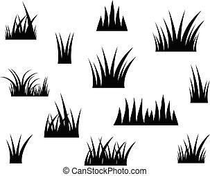 シルエット, ベクトル, 黒い背景, 白, 草