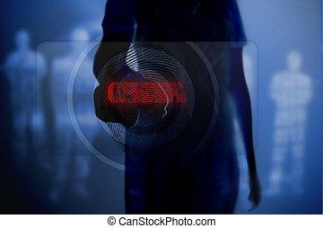 シルエット, ボタン, 指紋, 女, 感動的である
