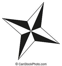 シルエット, ポイント, 黒, 4, 星, 白
