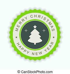シルエット, ラウンド, 木。, 緑, 紋章, クリスマス