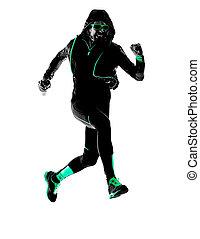 シルエット, ランナー, 動くこと, ジョガー, ジョッギング, 人