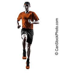 シルエット, ランナー, 動くこと, ジョガー, ジョッギング, 跳躍, 人