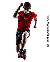 シルエット, ランナー, 動くこと, ジョガー, ジョッギング, 跳躍