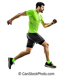 シルエット, ランナー, 動くこと, 隔離された, ジョガー, ジョッギング, 背景, 白, 人