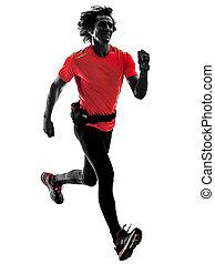 シルエット, ランナー, 動くこと, 隔離された, ジョガー, ジョッギング, bac, 白, 人