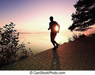 シルエット, ランナー, 太陽, 日没, 前方へ, 浜, 人