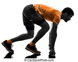 シルエット, ランナー, 背中, 隔離された, 動くこと, ジョガー, ジョッギング, 白, 人