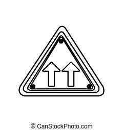 シルエット, 三角形の形, フレーム, 同じ, 方向矢, 道交通, 印
