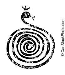 シルエット, 中国語, シンボル, ヘビ, 年, 新しい, デザイン, 2013