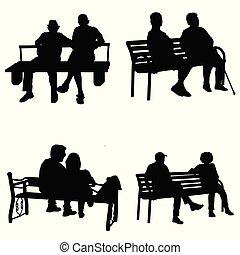 シルエット, 人々のモデル, 公園のベンチ, ベクトル