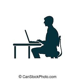シルエット, 人間が座る, バックグラウンド。, 白, コンピュータ