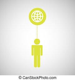 シルエット, 人, アイコン, 世界的な結線, 社会, 媒体