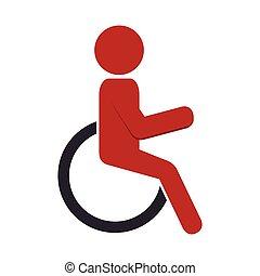シルエット, 人, 中に, 車椅子