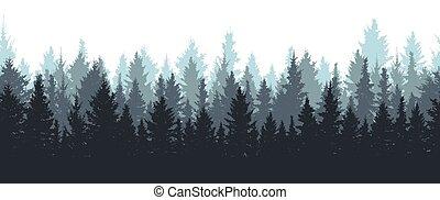 シルエット, 冬, seamless, 森林, ベクトル, spruces., illustration.