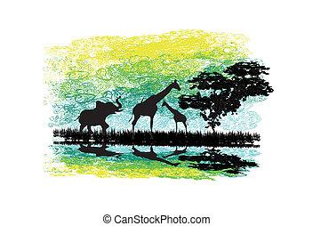 シルエット, 反射, アフリカ, 水, サファリ, 野生 動物