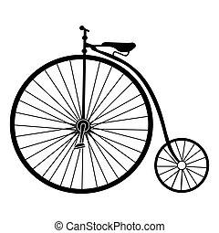 シルエット, 古い, 自転車, 隔離された