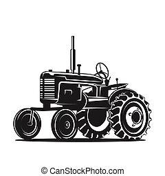 シルエット, 古い, 黒, 白い背景, トラクター