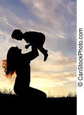 シルエット, 外, 母, 赤ん坊, 遊び, 幸せ