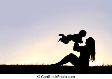 シルエット, 外, 笑い, 母, 赤ん坊, 遊び, 幸せ