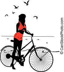 シルエット, 女の子, pinup, 優雅である, 自転車