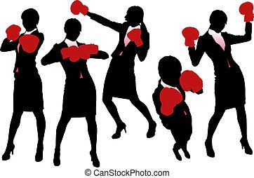 シルエット, 女, ボクシング, ビジネス